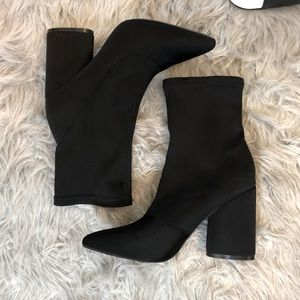 Fashion Nova Sock Block Heel Booties Size 9